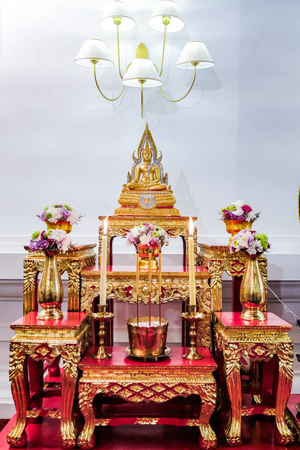 set of altar table  for ritual in Thailand