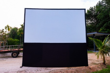 Empty Projection screen, Presentation board, blank whiteboard for conference out door