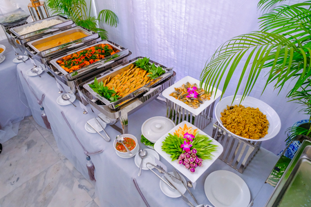 Thai buffet dinner at the beautifully arranged wedding