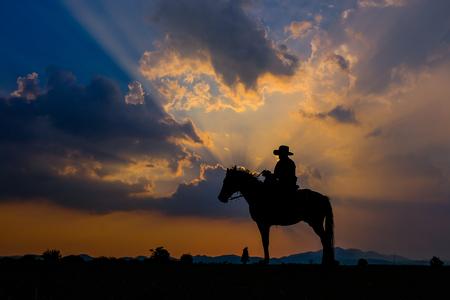Ein Mann im Cowboy-Outfit mit seinem Pferd