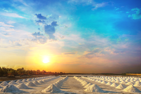 Salt pile in the salt pan in the rural areas of Thailand at sunrise