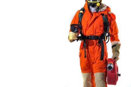 Escuela de formación de bomberos y bomberos de bobina de manguera de incendios y rescate con regularidad para prepararse: ayuda, concepto de protección contra incendios