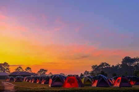 The tent camping on the at sunset on the top Phukradueng Thailand