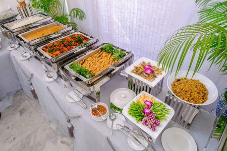 Thai buffet breakfast at a beautifully organized wedding Stock Photo
