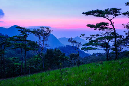 Sunrise landscape mountainsat Phu Soi Dao National Park in Thailand.