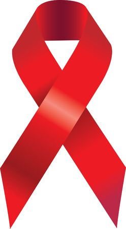 hiv aids: Red aids awareness ribbon. Illustration. Stock Photo