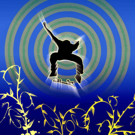 freetime: Skateboard jumper with floral elements and circles in background