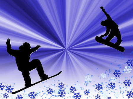 freetime: Silhouettes of two people snowboarding. Winter illustration.