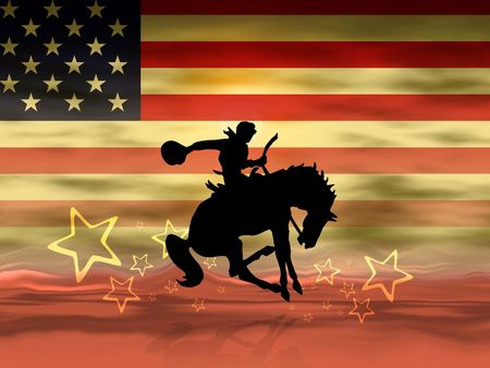 horse riding: Cowboy riding his horse - American flag in background Stock Photo