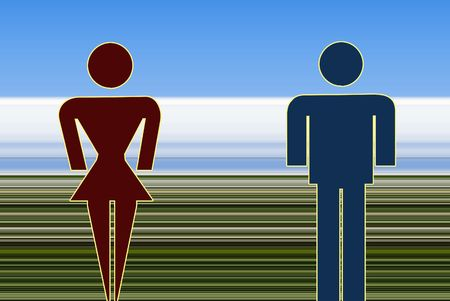 stranger: Illustration of a man and a woman standing in an abstract landscape. Stock Photo