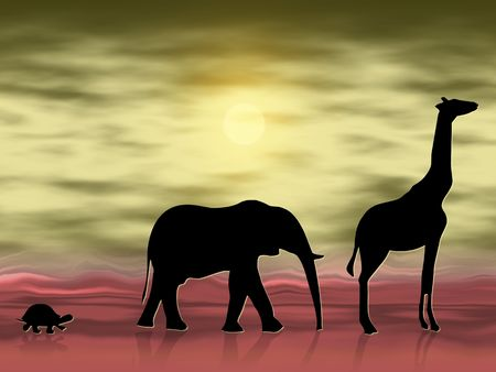 lonesome: Silhouettes of three animals wandering in the desert