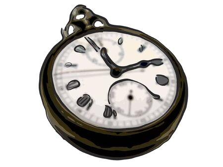 transience: Old watch on white background. Illustration.
