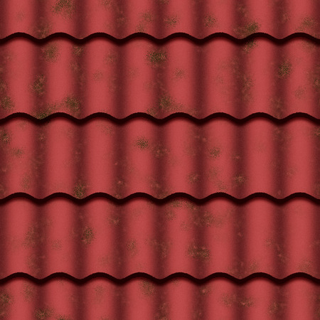 roof tiles: Red roof tiles with moss. Seamless tile. Stock Photo