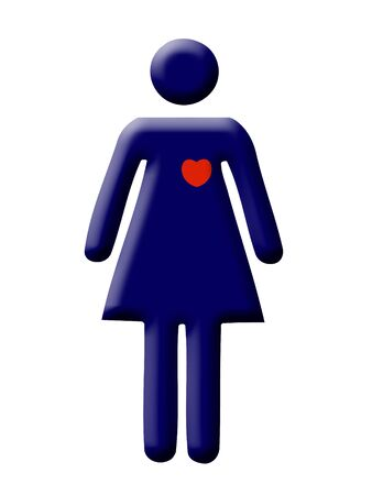 heartattack: Blue stylized figure of a woman with red heart Stock Photo