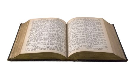 holy bible: Old  edition of the Holy Bible - EnglishGerman. Open book isolated against white background.