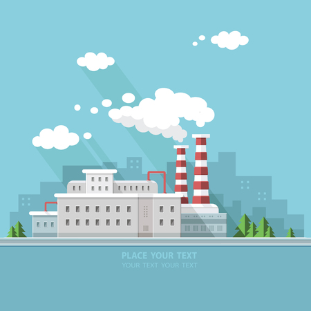 Manufacturing plant: Ecology Concept - industry factory. Flat style vector illustration. Illustration