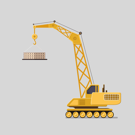 Lifting crane doing heavy lifting. Tower and harbor lifters. Flat style vector icons. Vettoriali