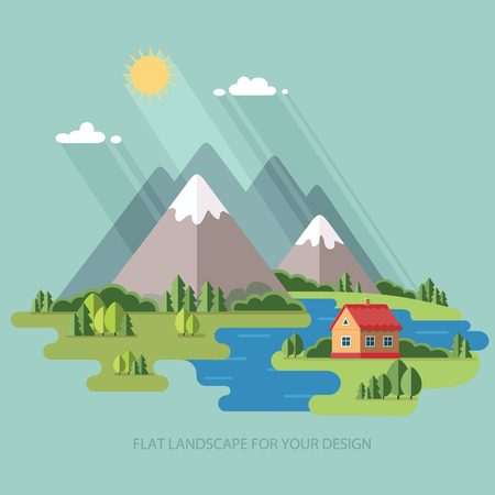 fishing village: summer landscape. Houses in the mountains among the trees, rest in a mountain village the lake and the river. Flat design style vector illustration.