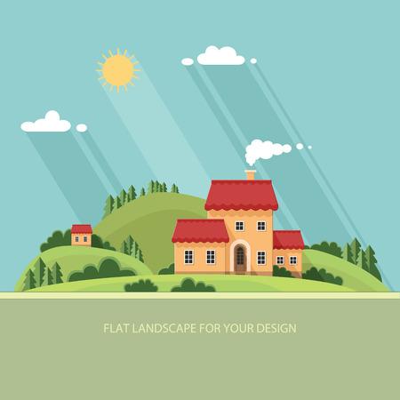 Calle de la ciudad del verano landscape.Little con pequeñas casas y árboles. ilustración vectorial de estilo plano. Foto de archivo - 49871176