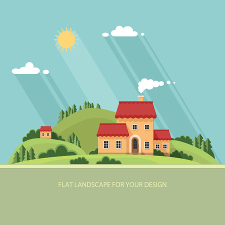 summer landscape.Little city street with small houses and trees. Flat style vector illustration. Иллюстрация