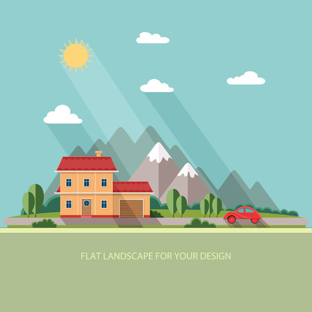 vacation home: Summer landscape. Red car, Vacation home on a background of mountains. Flat design style vector illustration.