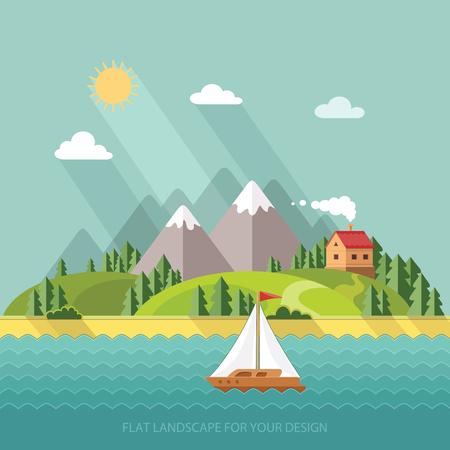 夏の風景。少人数の小さな村の通りの家や湖の樹木します。フラット スタイルのベクトル図です。