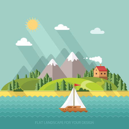 summer landscape. Little village street with small houses and trees on the lake. Flat style vector illustration. Çizim
