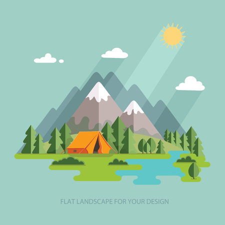 mountain holidays: summer  landscape. Morning landscape in the mountains. Solitude in nature by the river. Weekend in the tent. Hiking and camping. Vector flat illustration Illustration