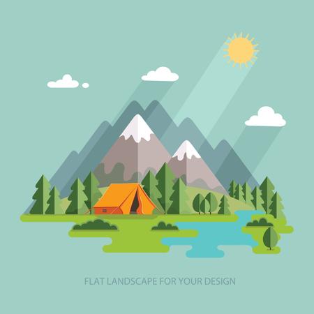 zomer landschap. Landschap van de ochtend in de bergen. Eenzaamheid in de natuur aan de rivier. Weekend in de tent. Wandelen en kamperen. Vector flat illustratie