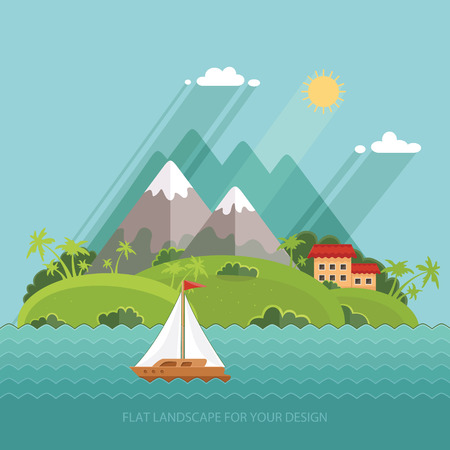 morning walk: Nature - Color vector flat icon set and illustration summer time: village, mountain, sun, clouds, trees nature, sea, boat, sail, fishing, walking