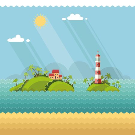 coastal: Nature - Summer Vacation. tropical island in the ocean. Lighthouse on the coastal line. Flat vector illustrations