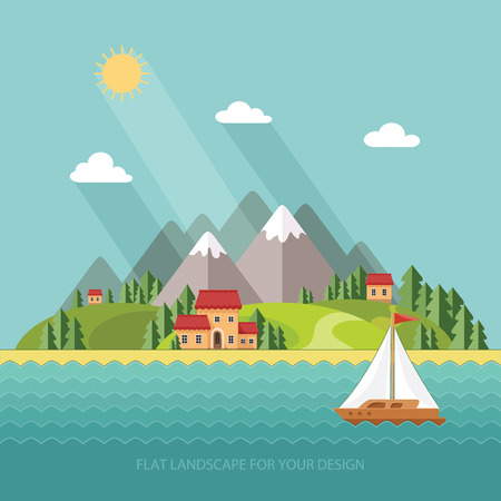 summer landscape. Little village street with small houses and trees on the lake. Flat style vector illustration. Illustration