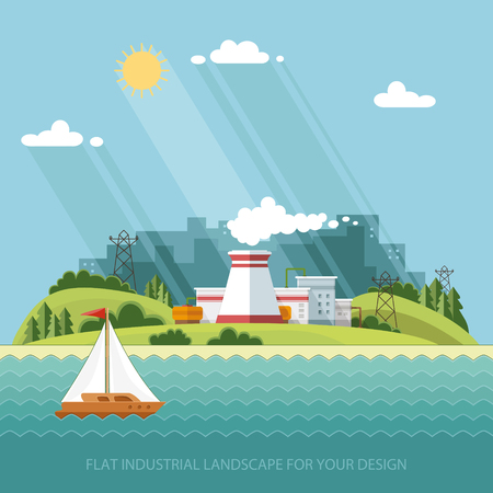 eco power: Energy station, industrial landscape. The nuclear power plant on the background of the city. Vector flat illustration