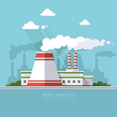 エネルギー ステーション。都市の背景に原子力発電所。都市の建設と集落景観要素のセットです。ベクトル フラット図  イラスト・ベクター素材