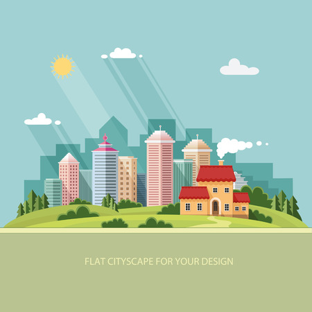 country house style: cityscape - summer  Country house on a background of a big city. Flat style vector illustration.