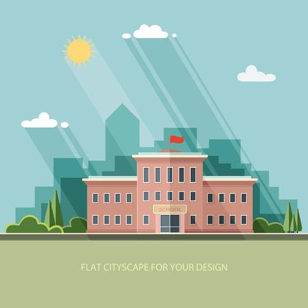 戻る学校へようこそ。都市の背景にある建物。フラット スタイルのベクトル図です。
