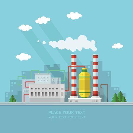 Ecología Concepto - fábrica de la industria. Ilustración vectorial de estilo Flat.