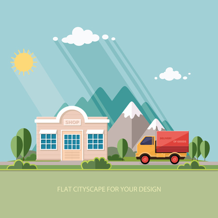 roadside: Truck delivery of goods. roadside shop on a background of mountains. Flat style vector illustration.