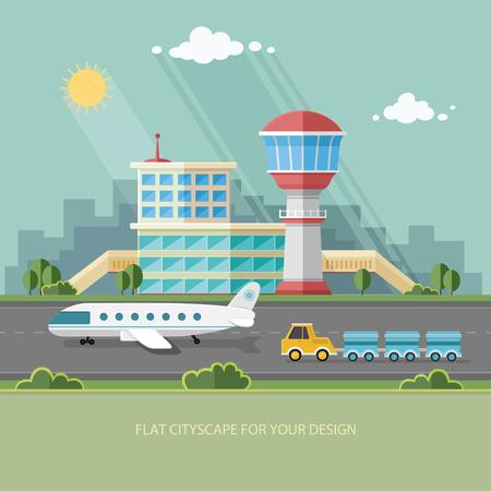 путешествие: Аэропорт пейзаж. Путешествия Стиль жизни Понятие Планирование Туризм летние каникулы и путешествия плоским стиль векторные иллюстрации.