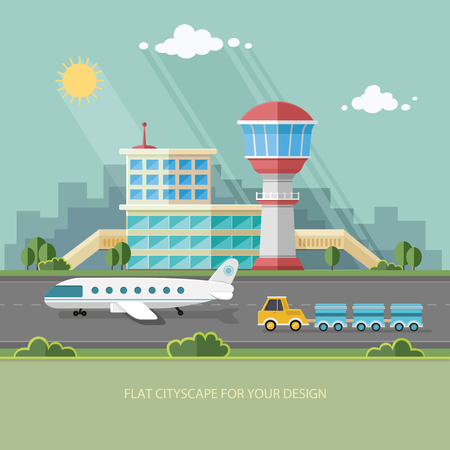 airport cartoon: Airport landscape. Travel Lifestyle Concept of Planning a Summer Vacation Tourism and Journey  Flat style vector illustration. Illustration
