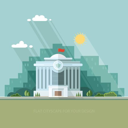 civic: City landscape. municipal building, City Hall, the Government, the court on the background of the city. Flat illustration.
