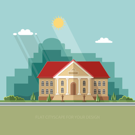 antiquity: Archeological building of antiquity and natural science exposition ancient civilizations. Flat style illustration. Illustration