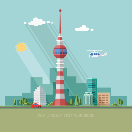 cellular repeater: TV tower. Mass media. cityscape. Flat style illustration.