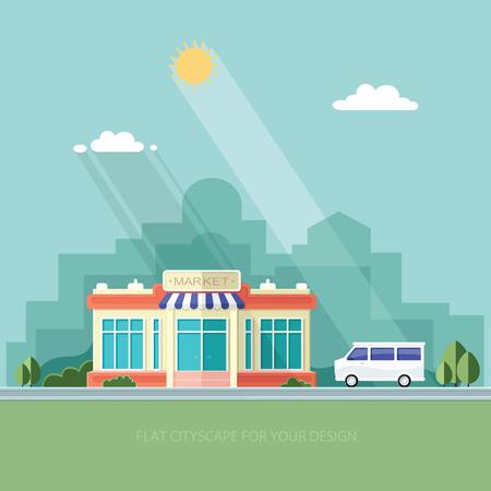 都市の景観。スーパーと車。市内のショップ。フラット スタイルの図。