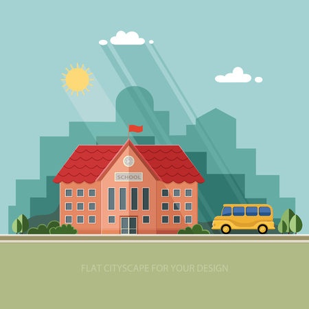 welcome symbol: Welcome back to school. Building and school bus on the background of the city. Flat style illustration.