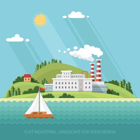 Kologie-Konzept - Industrie-Fabrik. Anlage auf einem Hintergrund der schönen Natur. Flache Vektor-Illustration. Standard-Bild - 65646122