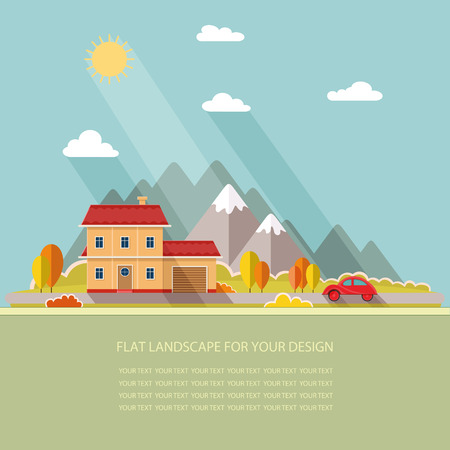 illustrated: autumn landscape. Red car, Vacation home on a background of mountains. Flat design style vector illustration. Illustration