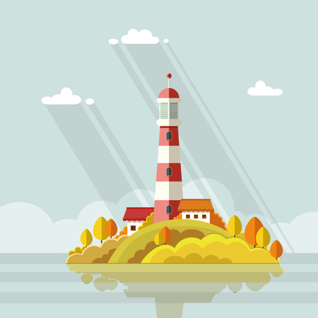 Seascape. Lighthouse on the island on a background of clouds. Flat vector illustrations