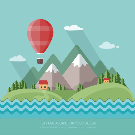 Traveling in a balloon. Spring.  Vacation home on a background of mountains.  Flat design style vector illustration.