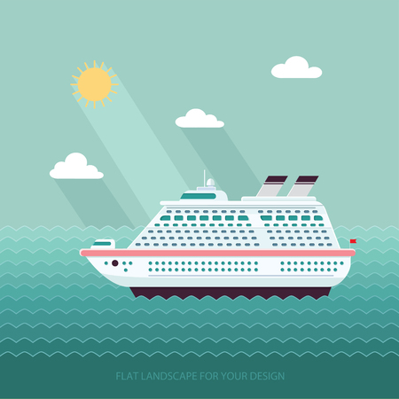 docks: Ship in the Ocean. Trip around the world. Flat design style vector illustration.